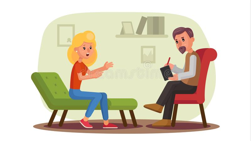 Classic Psychologist Vector. Classic Psychotherapist And Woman Patient. Psychotherapy Counseling Concept. Consultation vector illustration