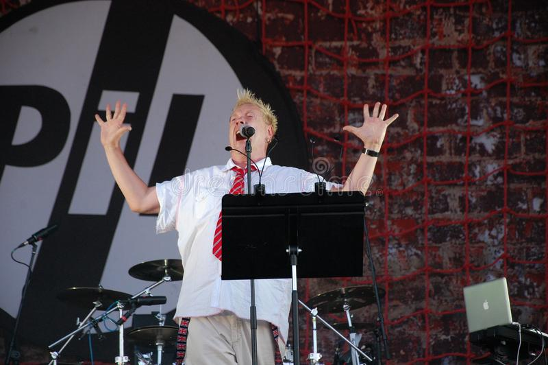 Trencin, Slovakia - July 9, 2011: Johnny Rotten performing live with Public Image limited PIL, ex Sex Pistols at Pohoda Festival stock image