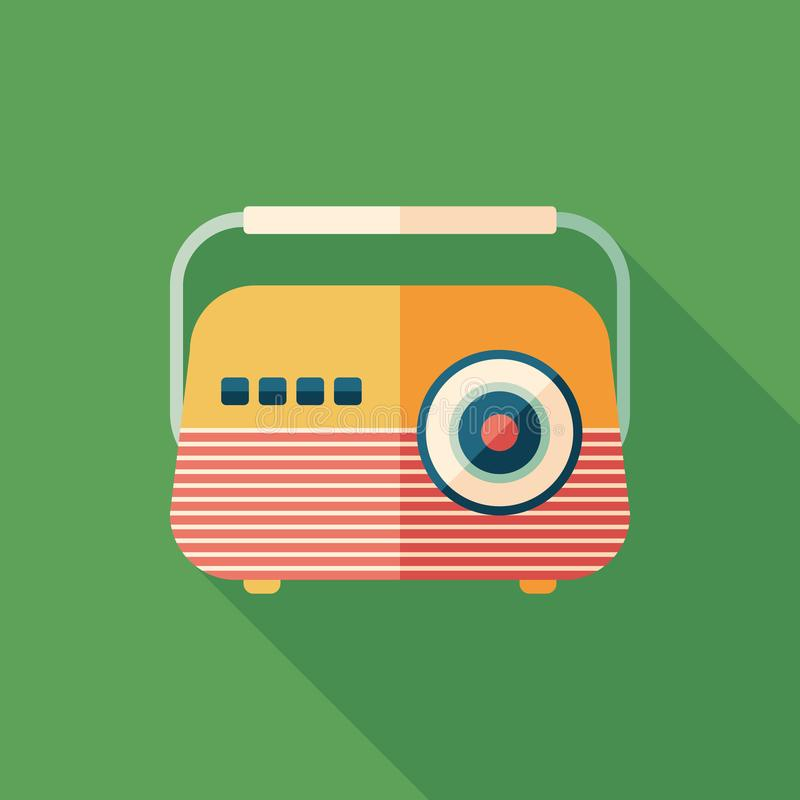 Classic radio receiver flat square icon with long shadows. stock illustration