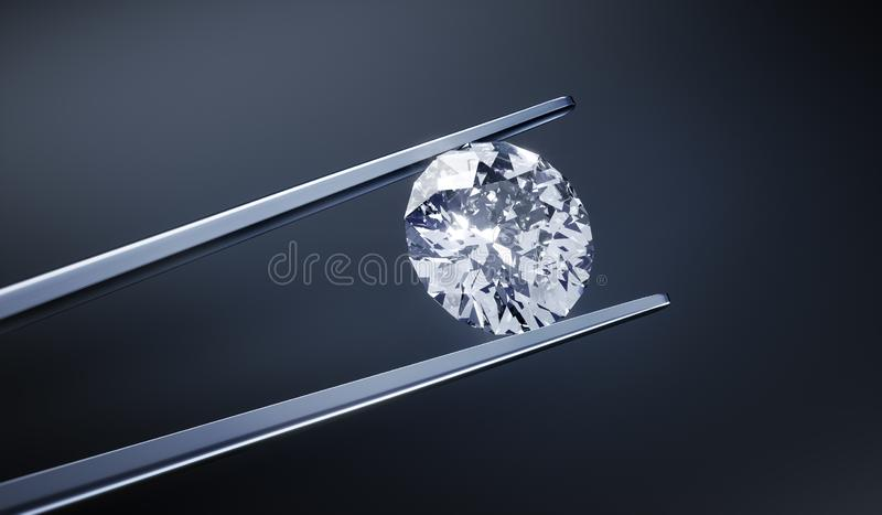 Isolated 3D diamond on a dark gray background royalty free illustration