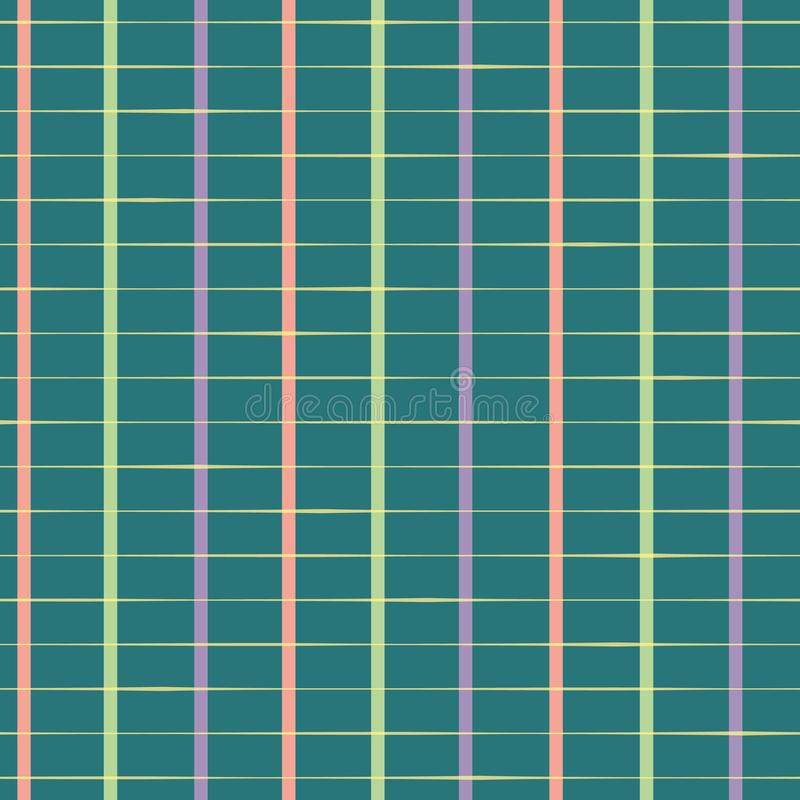 Classic rectangular hand drawn grid in purple, pastel red and green Seamless geometric vector pattern on teal background vector illustration