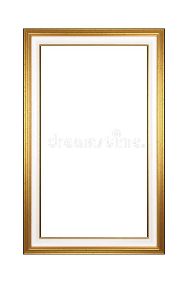 Golden Portrait Empty Picture Frame Isolated stock illustration