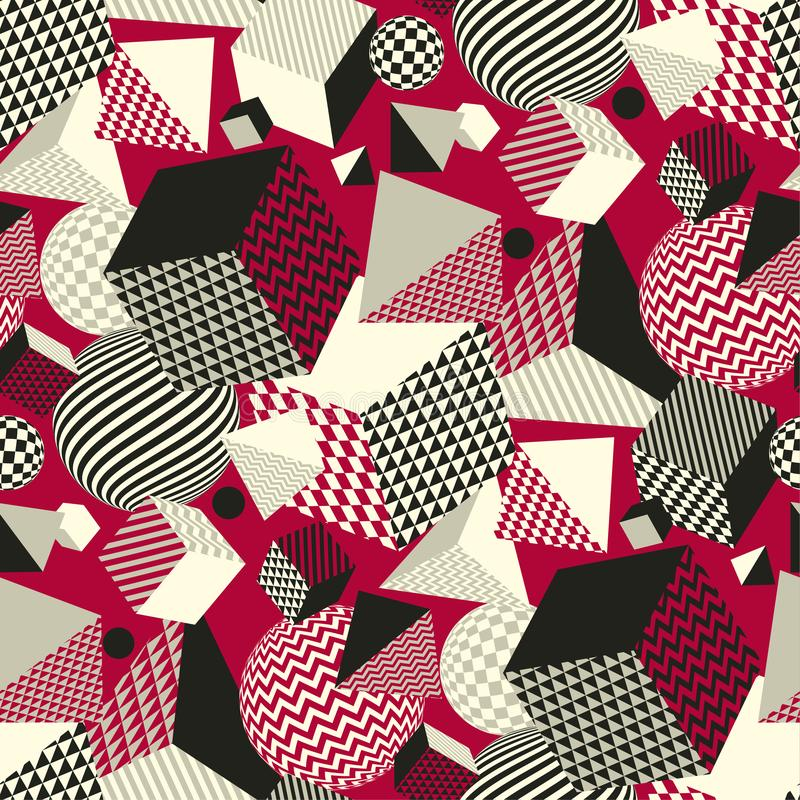 Classic red and black geometric seamless pattern. With the chaos of geometric forms and shapes. Geom repeatable motif for fabric, wrapping paper, background stock illustration
