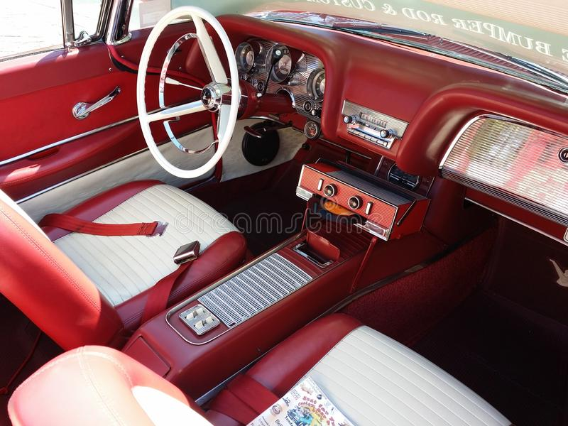 Classic red car. Automobile, old car, interior view of classic car. Geelong revival festival. beautiful, amazing, wonderful, monster, sick old car royalty free stock image