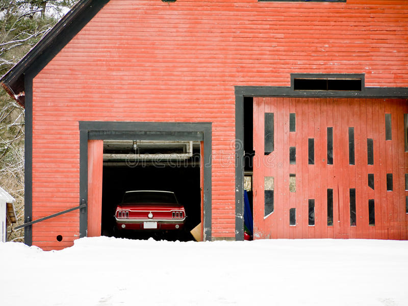 Classic Red Car In Barn Royalty Free Stock Photo