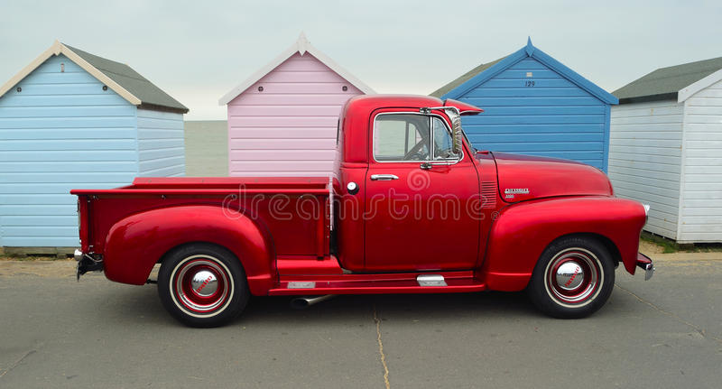 Classic Red Chevrolet 3100 pickup truck stock image