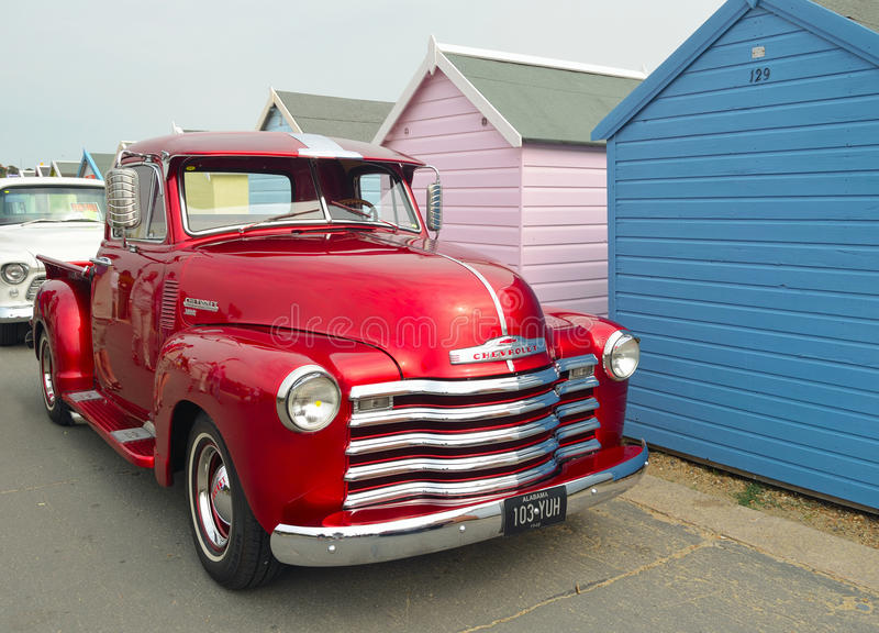 Classic Red Chevrolet 3100 pickup truck royalty free stock photography