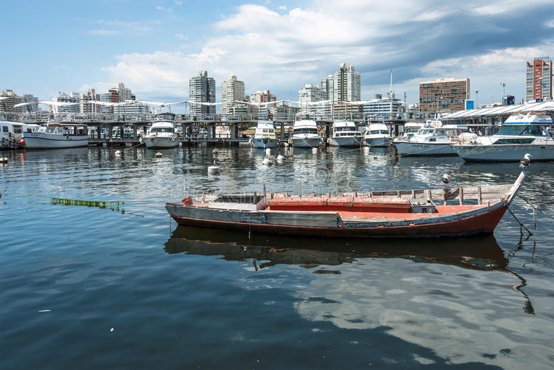 Classic Red Fishing boat in Punta del Este harbor, Uruguay royalty free stock photography