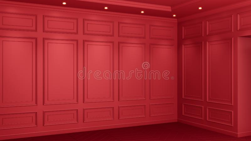Classic red interior with copy space. Red walls with classical decor. Floor parquet herringbone. 3d rendering. Classic red interior with copy space. Red walls vector illustration