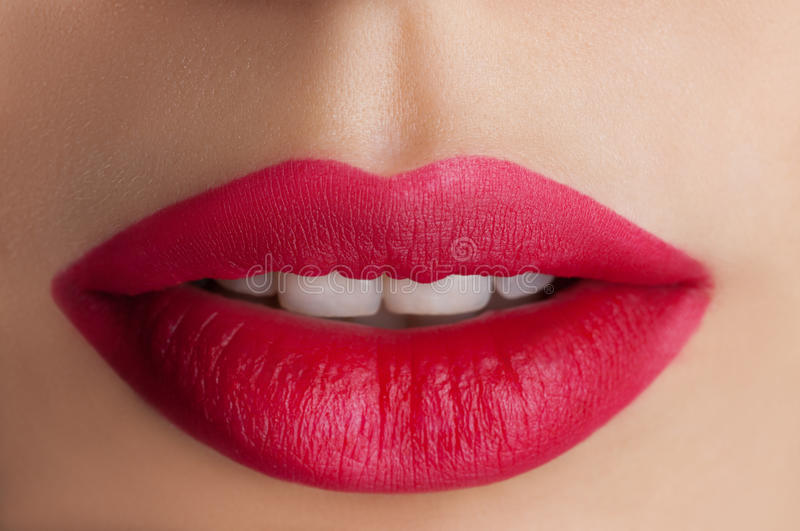 Classic red lips stock photos