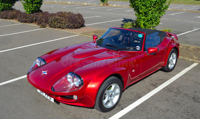 Classic Red 1999 Marcos Mantara Sports car. stock photography