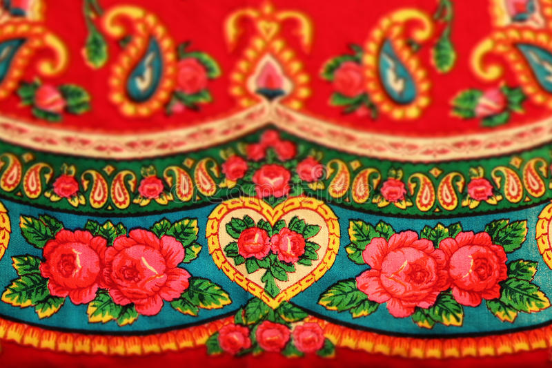 Classic red vintage slavonic folk pattern, tilt shift effect. Classic red vintage slavic folk pattern, tilt shift effect royalty free stock photos