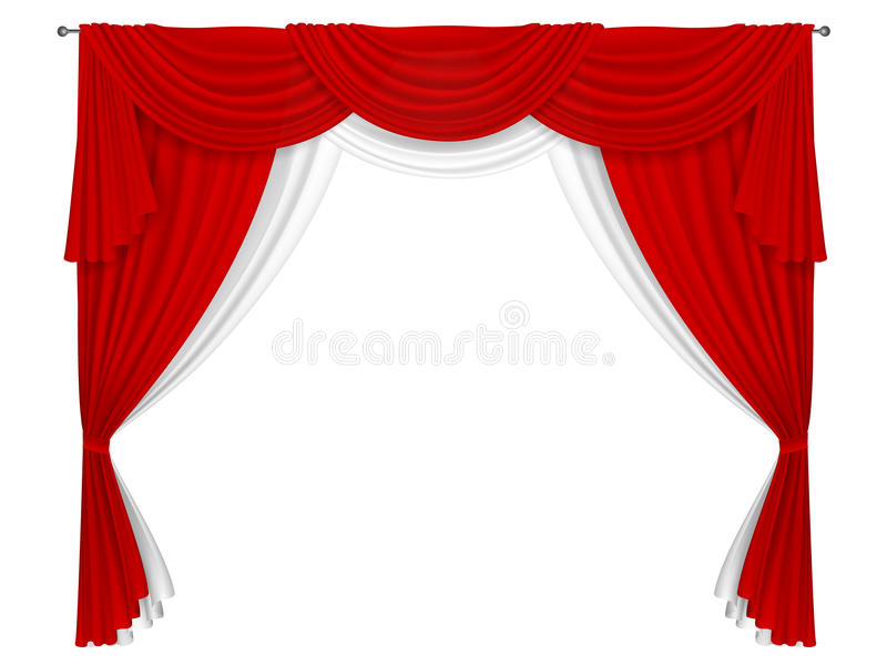 Download Classic Red And White Curtain Stock Vector