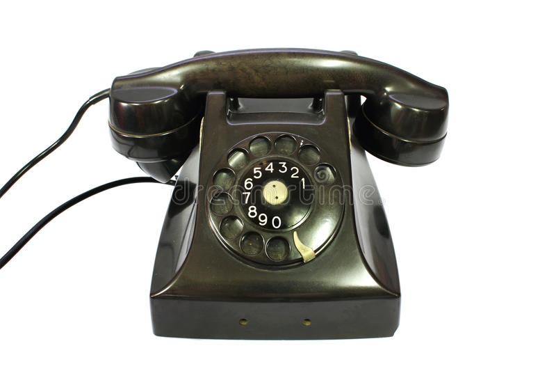 Classic retro dial style black house telephone. On white background,isolate stock image