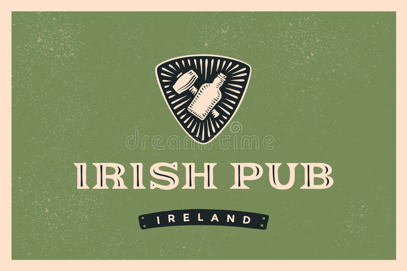 Classic retro styled label for Irish Pub royalty free illustration