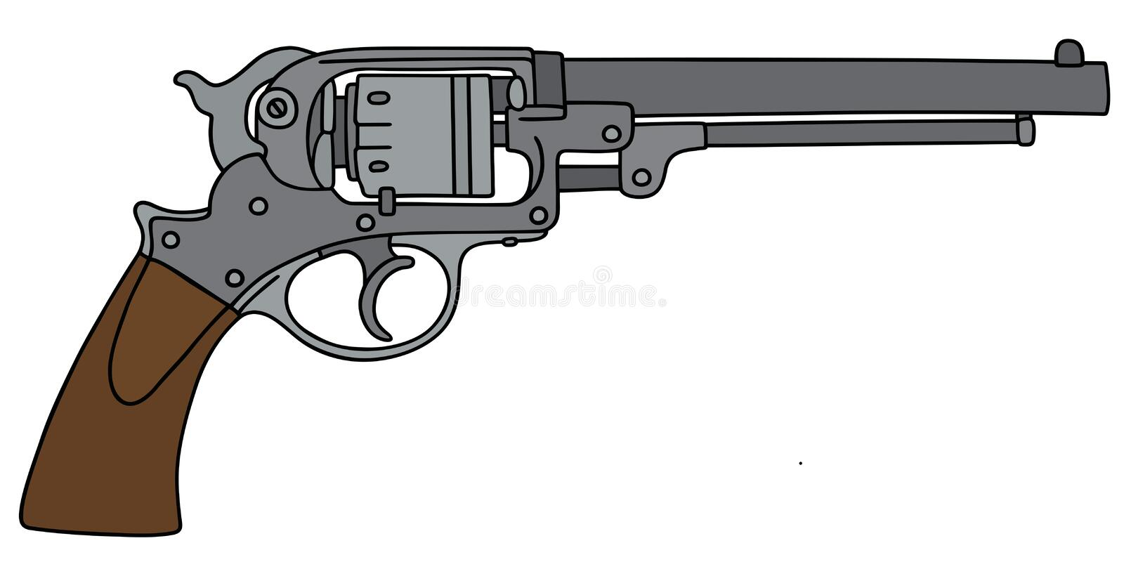Classic revolver. Hand drawing of a classic revolver royalty free illustration