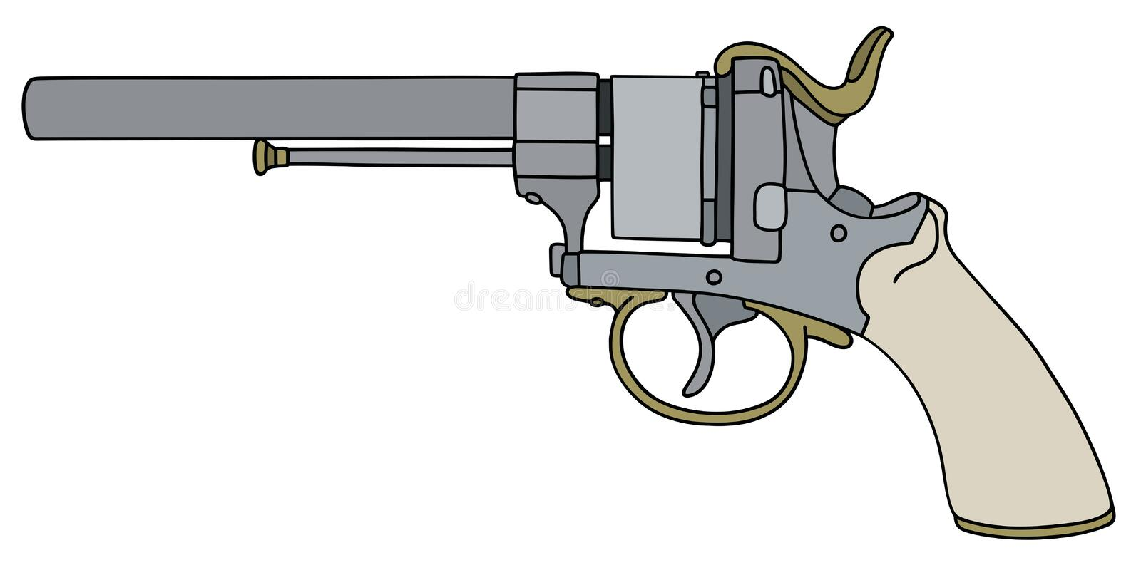 Classic revolver with a light handle. Hand drawing of a classic revolver royalty free illustration