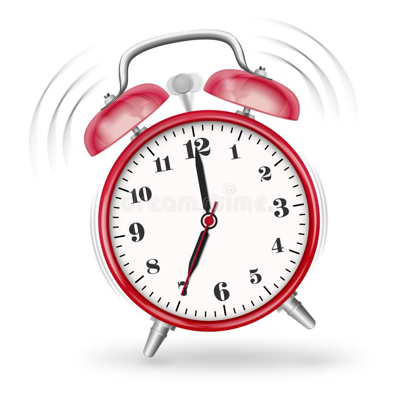 Classic Ringing Alarm Clock Icon with Red Surface stock images