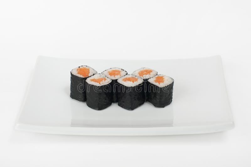 Classic roll with salmon royalty free stock photos