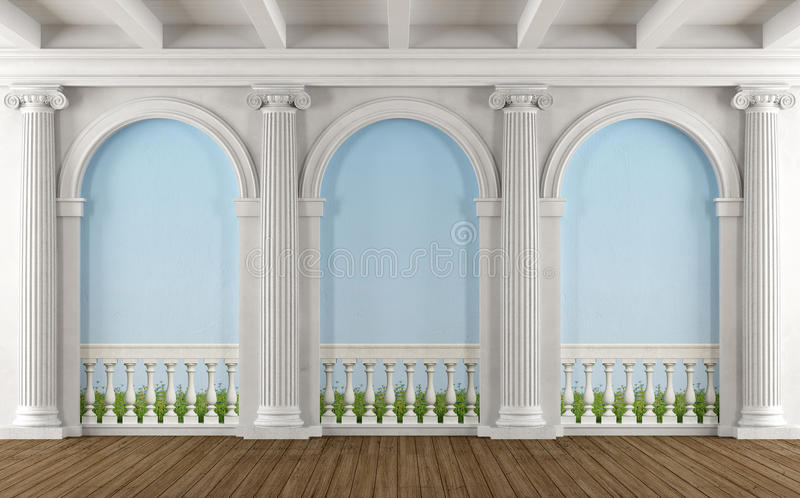 Classic room with colonnade. And balustrade painted on the wall - 3D Rendering stock illustration