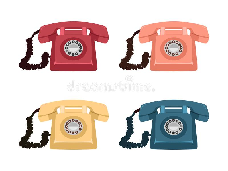 Classic Rotary Telephone Vector Illustration. Telephone antique icon for home stock illustration