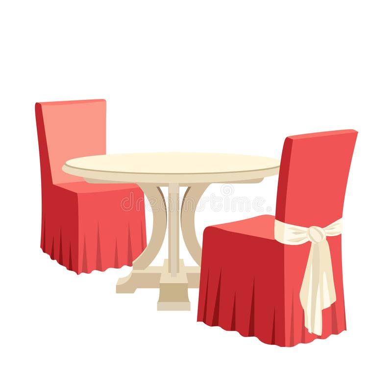 Classic round dining table and two chairs with seat cover royalty free illustration