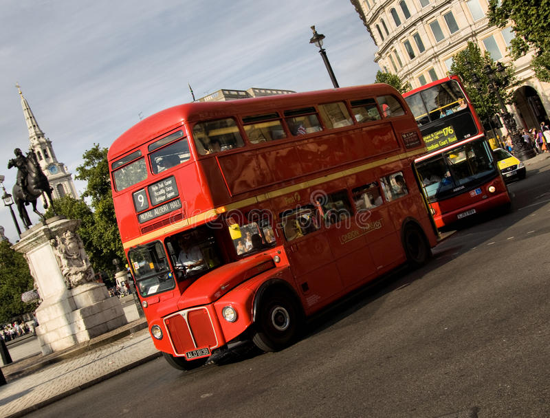 Classic routemaster double decker bus. May 24,2012 in London. The traditional red Routemaster has become a famous feature of London stock image