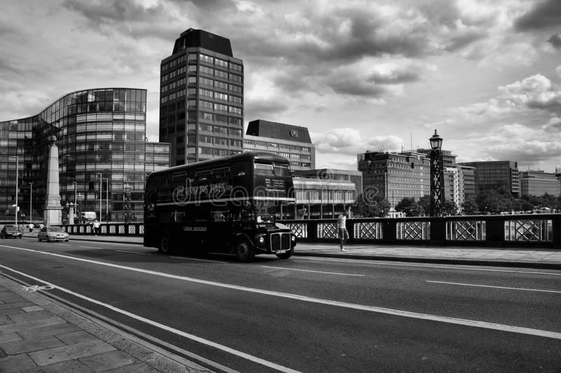 Classic routemaster double decker bus. May 24,2012 in London. The traditional red Routemaster has become a famous feature of London royalty free stock photography
