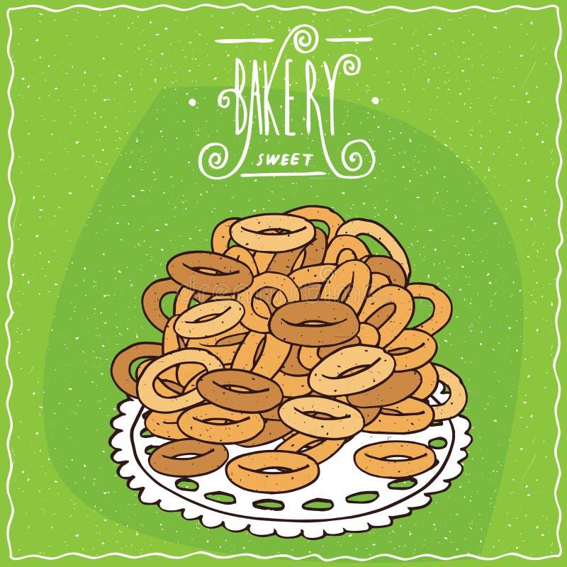 Classic Russian sweet bread rings sushki vector illustration