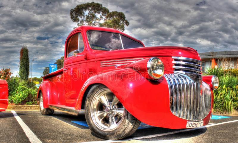 Classic 1930s American Chevy pickup truck. Classic 1939 red American Chevy pickup truck on display at car show in Melbourne, Australia stock photos