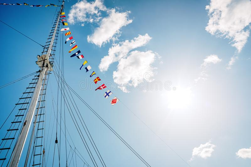 A classic sailboat moored to port royalty free stock images