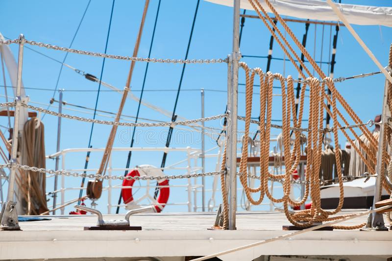 Classic sailing ship equipment stock image