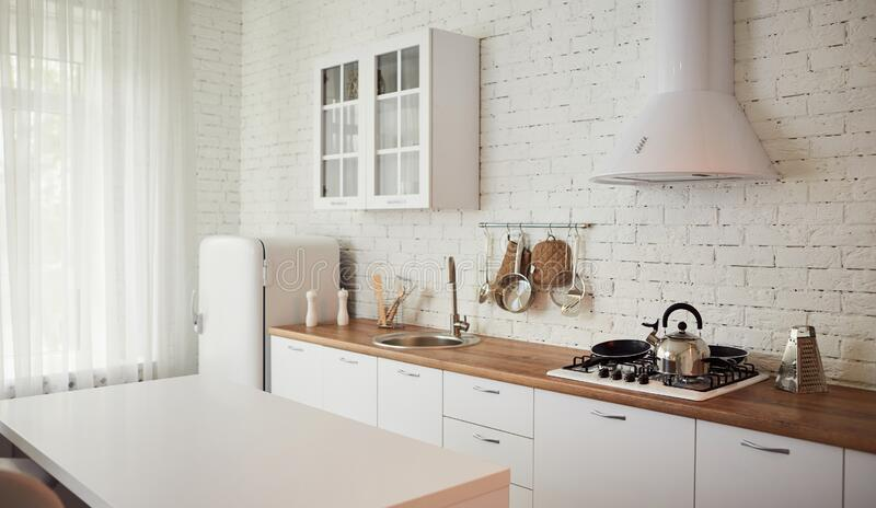 Classic Scandinavian Kitchen With Wood And White Details Minimalistic Interior Design Stock Image Image Of Contemporary Marble 193021291