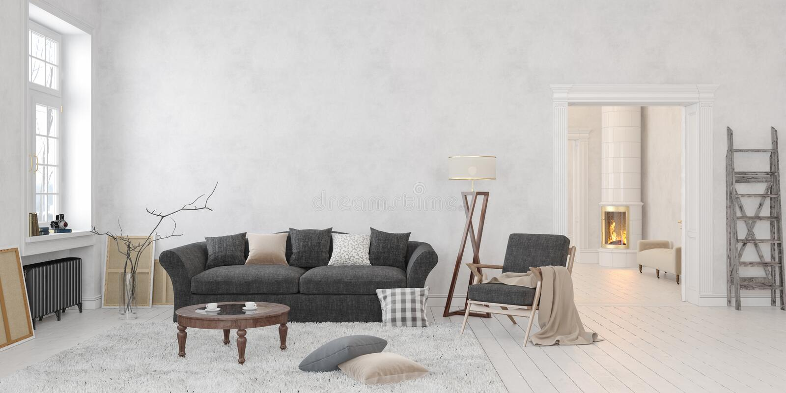 Classic scandinavian white interior with fireplace, sofa, table, lounge chair, floor lamp. stock illustration