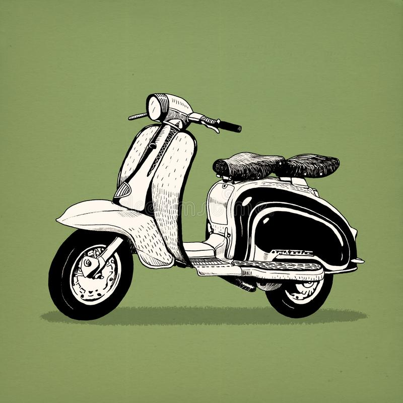 Classic scooter motorbike model like Vespa royalty free illustration