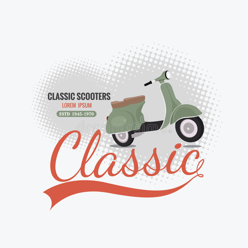 Classic scooter. Old classic scooter art design stock illustration