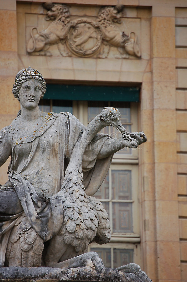 Classic sculpture. Classical sculpture of a woman and an ostrich in french castle of Vaulx-le-Vicomte stock photo