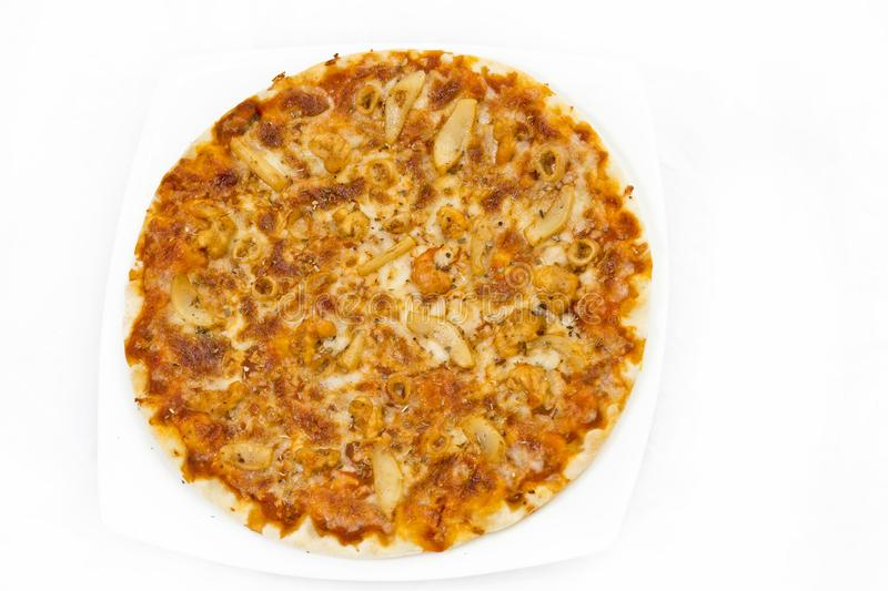 Classic Seafood Pizza with white background. royalty free stock photography