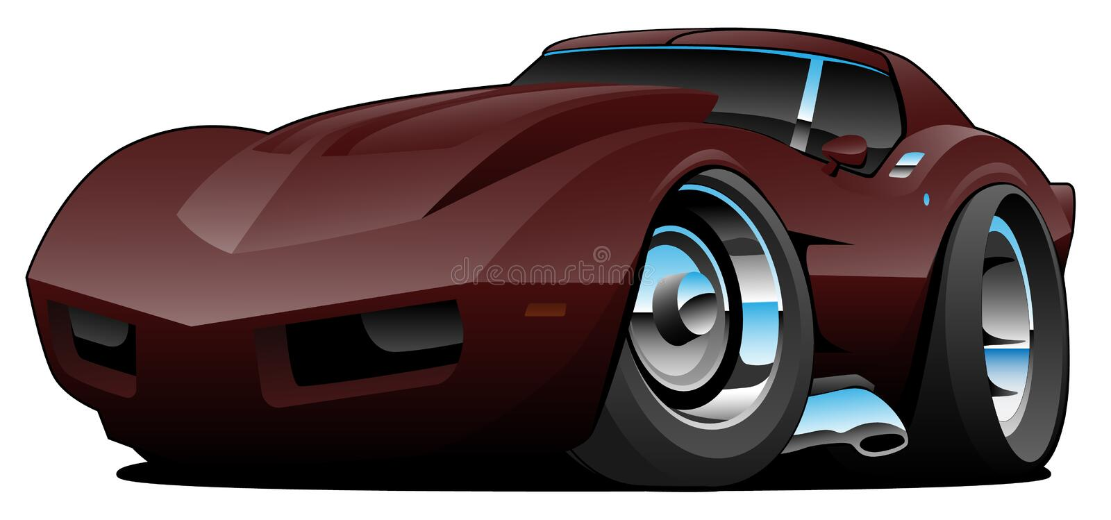 Classic Seventies American Sports Car Cartoon Isolated Vector Illustration. Deep red classic muscle car cartoon, shiny paint and lots of chrome, sharp vector royalty free illustration