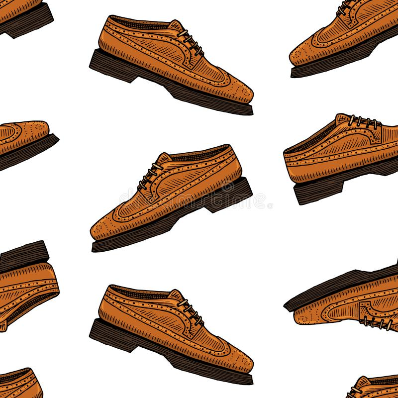 Classic shoes seamless pattern or men accessory. engraved hand drawn in old vintage sketch. footwear or brogues, casual. Style vector illustration