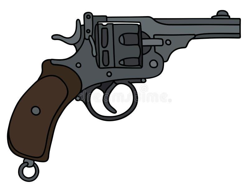 Classic short revolver. Hand drawing of a classic short revolver stock illustration