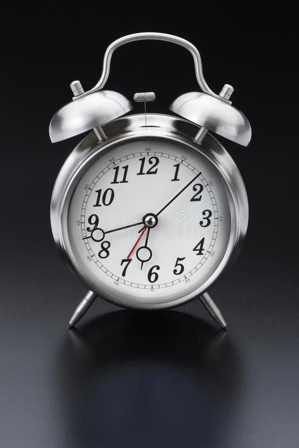 Classic Silver Alarm Clock Royalty Free Stock Photography