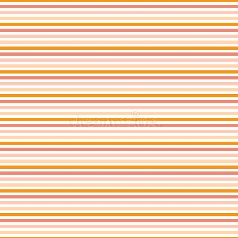 Classic simple coral peach orange stripes Seamless repeat pattern stock illustration