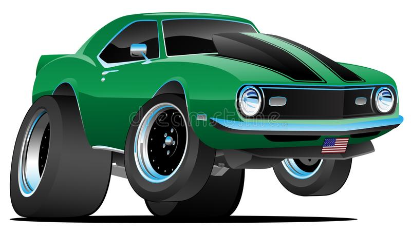 Classic Sixties Style American Muscle Car Cartoon Vector Illustration royalty free illustration