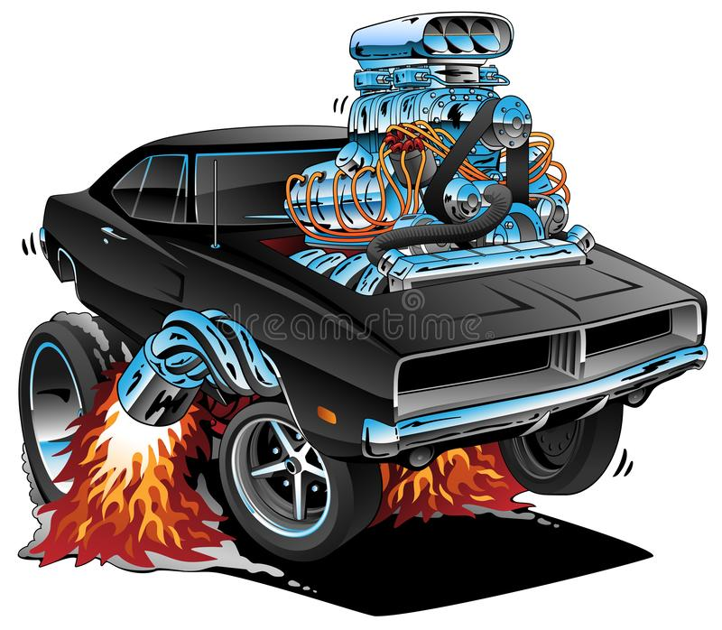 Classic Sixties Style American Muscle Car, Huge Chrome Motor, Popping a Wheelie, Cartoon Vector Illustration. Sweet looking black American sixties muscle car hot stock illustration