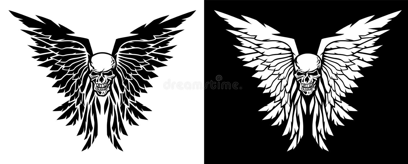 Classic skull and wings vector illustration in both black and white versions stock illustration
