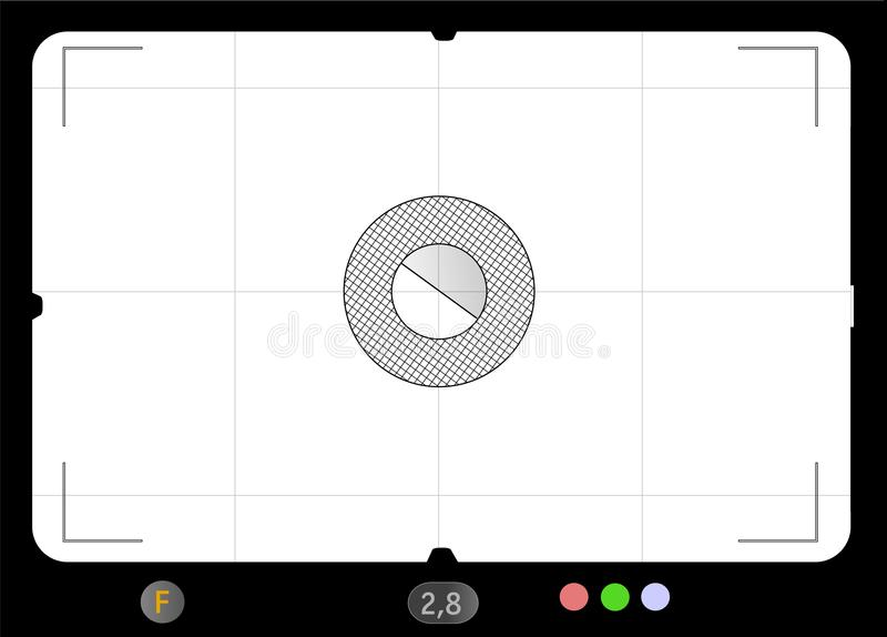 Classic SLR viewfinder frame, template for pix. Classic SLR viewfinder, focusing screen/frame with free space for your pics, vector illustration stock illustration