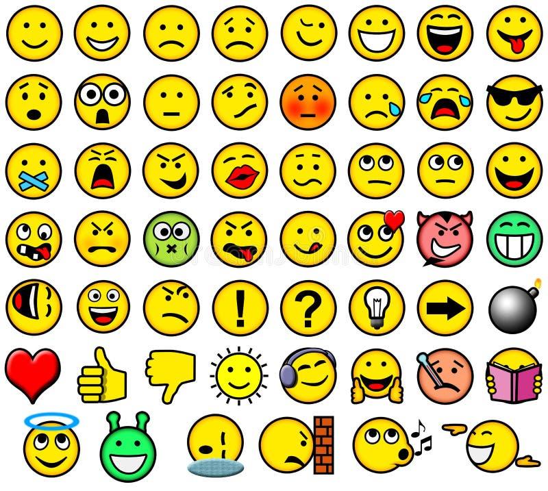 Classic smileys. Classic retro style 54 smileys stock illustration