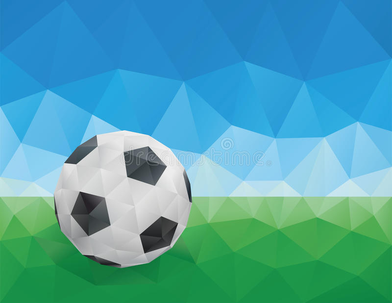 Classic Soccer Ball, Green Grass and Blue Sky stock illustration