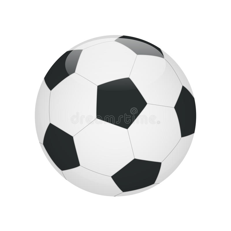 Classic soccer ball isolated on white background. Soccer ball icon. Flat 3d vector illustration stock illustration